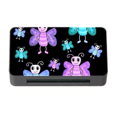 Blue And Purple Butterflies Memory Card Reader With Cf by Valentinaart