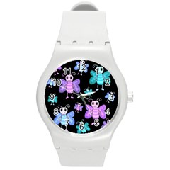 Blue And Purple Butterflies Round Plastic Sport Watch (m) by Valentinaart