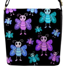 Blue And Purple Butterflies Flap Messenger Bag (s) by Valentinaart