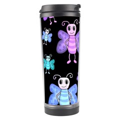 Blue And Purple Butterflies Travel Tumbler by Valentinaart