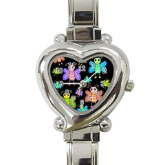 Cartoon Style Butterflies Heart Italian Charm Watch by Valentinaart