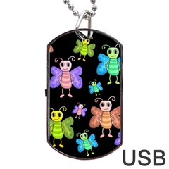 Cartoon Style Butterflies Dog Tag Usb Flash (one Side) by Valentinaart