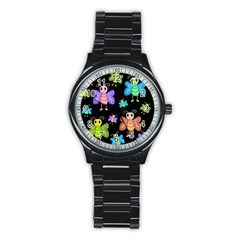 Cartoon Style Butterflies Stainless Steel Round Watch by Valentinaart