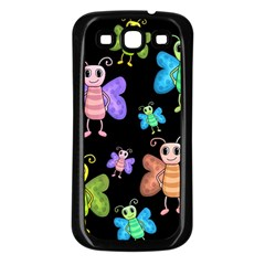 Cartoon Style Butterflies Samsung Galaxy S3 Back Case (black)