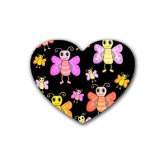 Cute Butterflies, Colorful Design Heart Coaster (4 Pack)  by Valentinaart