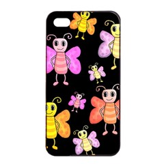 Cute Butterflies, Colorful Design Apple Iphone 4/4s Seamless Case (black) by Valentinaart