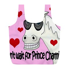 Don t Wait For Prince Charming Full Print Recycle Bags (l)  by Valentinaart