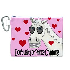 Don t Wait For Prince Charming Canvas Cosmetic Bag (xl) by Valentinaart