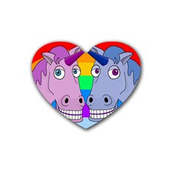 Unicorn Love Rubber Coaster (heart)  by Valentinaart