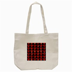 Triangle2 Black Marble & Red Marble Tote Bag (cream) by trendistuff