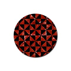 Triangle1 Black Marble & Red Marble Rubber Round Coaster (4 Pack) by trendistuff