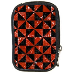 Triangle1 Black Marble & Red Marble Compact Camera Leather Case by trendistuff