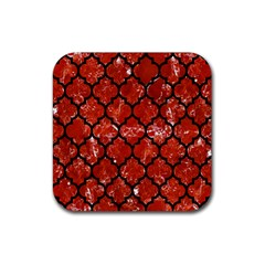 Tile1 Black Marble & Red Marble (r) Rubber Square Coaster (4 Pack) by trendistuff