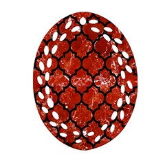 Tile1 Black Marble & Red Marble (r) Oval Filigree Ornament (two Sides) by trendistuff