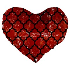 Tile1 Black Marble & Red Marble (r) Large 19  Premium Flano Heart Shape Cushion by trendistuff