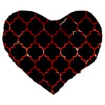 TILE1 BLACK MARBLE & RED MARBLE Large 19  Premium Flano Heart Shape Cushion Front