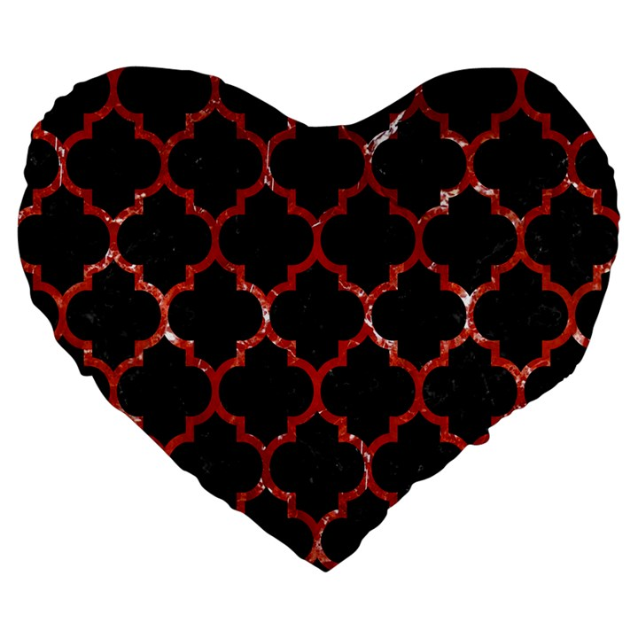TILE1 BLACK MARBLE & RED MARBLE Large 19  Premium Flano Heart Shape Cushion