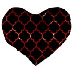 TILE1 BLACK MARBLE & RED MARBLE Large 19  Premium Flano Heart Shape Cushion Back