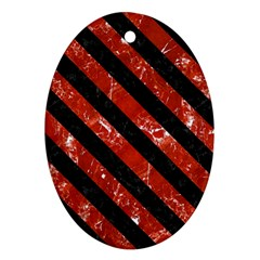 Stripes3 Black Marble & Red Marble (r) Oval Ornament (two Sides)