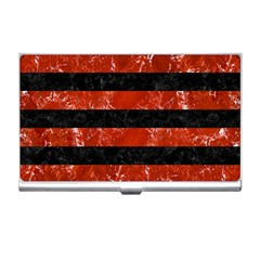 Stripes2 Black Marble & Red Marble Business Card Holder by trendistuff