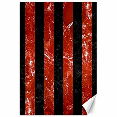 Stripes1 Black Marble & Red Marble Canvas 20  X 30  by trendistuff