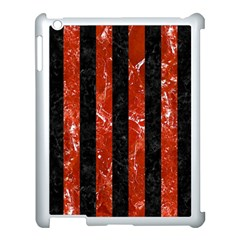 Stripes1 Black Marble & Red Marble Apple Ipad 3/4 Case (white) by trendistuff