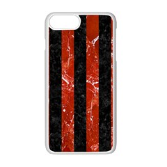 Stripes1 Black Marble & Red Marble Apple Iphone 7 Plus White Seamless Case