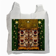 Festive Cartoons In Star Fall Recycle Bag (one Side) by pepitasart