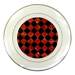Square2 Black Marble & Red Marble Porcelain Plate by trendistuff