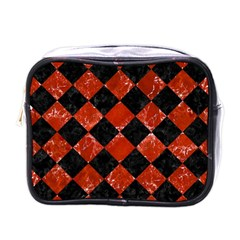 Square2 Black Marble & Red Marble Mini Toiletries Bag (one Side) by trendistuff