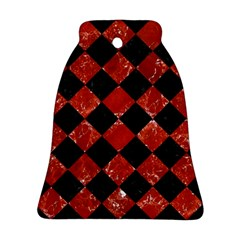 Square2 Black Marble & Red Marble Bell Ornament (two Sides) by trendistuff