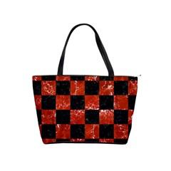 Square1 Black Marble & Red Marble Classic Shoulder Handbag by trendistuff