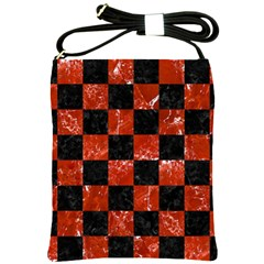 Square1 Black Marble & Red Marble Shoulder Sling Bag by trendistuff