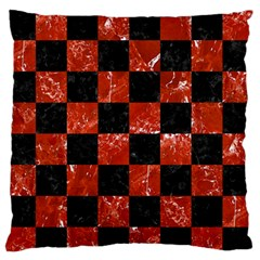 Square1 Black Marble & Red Marble Large Flano Cushion Case (one Side) by trendistuff