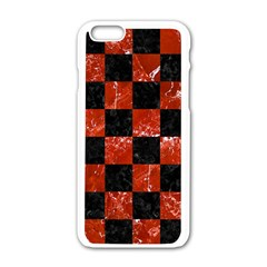 Square1 Black Marble & Red Marble Apple Iphone 6/6s White Enamel Case by trendistuff