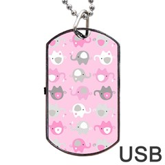 Animals Elephant Pink Cute Dog Tag Usb Flash (two Sides)  by Jojostore