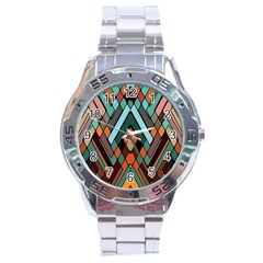 Abstract Mosaic Color Box Stainless Steel Analogue Watch by Jojostore
