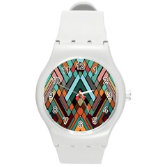 Abstract Mosaic Color Box Round Plastic Sport Watch (m) by Jojostore
