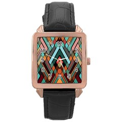 Abstract Mosaic Color Box Rose Gold Leather Watch  by Jojostore