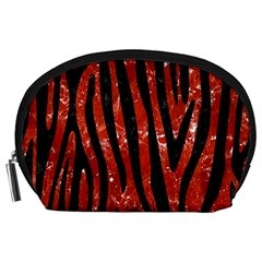Skin4 Black Marble & Red Marble Accessory Pouch (large) by trendistuff