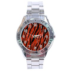 Skin3 Black Marble & Red Marble (r) Stainless Steel Analogue Watch by trendistuff