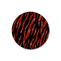 Skin3 Black Marble & Red Marble Rubber Coaster (round) by trendistuff