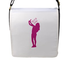 Selfie Girl Graphic Flap Messenger Bag (l)  by dflcprints