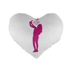 Selfie Girl Graphic Standard 16  Premium Flano Heart Shape Cushions by dflcprints
