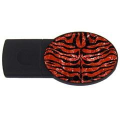 Skin2 Black Marble & Red Marble (r) Usb Flash Drive Oval (2 Gb)