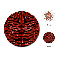Skin2 Black Marble & Red Marble (r) Playing Cards (round) by trendistuff