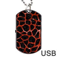 Skin1 Black Marble & Red Marble (r) Dog Tag Usb Flash (one Side) by trendistuff