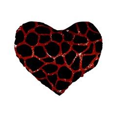 Skin1 Black Marble & Red Marble (r) Standard 16  Premium Flano Heart Shape Cushion  by trendistuff