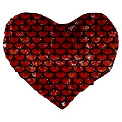 Scales3 Black Marble & Red Marble (r) Large 19  Premium Flano Heart Shape Cushion by trendistuff