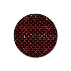 Scales3 Black Marble & Red Marble Rubber Round Coaster (4 Pack) by trendistuff